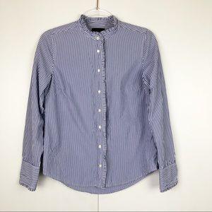 J.Crew Ruffled Button Up Shirt In Stripe
